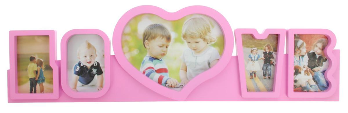 Фоторамка Любовь, на 5 фото, цвет: розовый. 19356481935648Правда приятно, когда над подарком кто-то потрудился, приложил усилия, особенно если это дорогой сердцу человек? Преподнесите такую фоторамку на несколько фотографий с вашими совместными или семейными снимками. Будьте уверены, что человек оценит такой жест. Теперь вы с легкостью можете объединить несколько дорогих сердцу воспоминаний воедино, ведь время от времени вы будете поглядывать на эту композицию и нежно улыбаться.