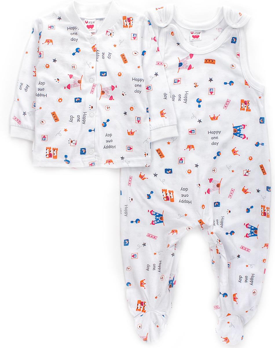 Комплект детский Unique: ползунки, распашонка, цвет: белый. U012101. Размер 74U012101Детский комплект Unique идеально подойдет для ребенка в качестве повседневной одежды. Комплект состоит из распашонки и ползунков с грудкой, изготовленных из натурального хлопка, который не раздражает нежную кожу ребенка и хорошо сохраняет тепло. Комплект необычайно мягкий и приятный на ощупь, не сковывает движения малыша и позволяет коже дышать, обеспечивая ему наибольший комфорт. Распашонка с длинными рукавами и круглым вырезом горловины застегивается на кнопки по всей длине изделия. Рукава дополнены широкими трикотажными манжетами, не стягивающими запястья. Ползунки с грудкой застегиваются с помощью удобных кнопок, которые позволяют без труда переодеть малыша. Изделия декорированы принтовым рисунком.