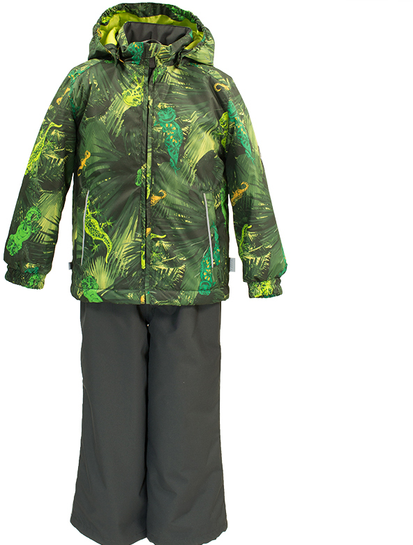 Комплект верхней одежды детский Huppa Yoko: куртка, брюки, цвет: лайм, темно-серый. 41190004-82147. Размер 12241190004-82147Комплект верхней одежды детский Huppa Yoko состоит из курткии брюк. Функциональная куртка изготовлена из износостойкого, дышащего,водо- и ветронепроницаемого материала с водо- и грязеотталкивающейповерхностью. Все швы проклеены, водонепроницаемы. Съемный капюшонзащищает от холодного ветра. В брюках имеется ширинка на молнии ирегулируемые эластичные подтяжки. Комплект снабжен светоотражателями. Вкуртке предусмотрены два кармана на молнии.Полная функциональность: отповседневного комфорта до экстремальных условий.Водо- и воздухонепроницаемость 10 000 (так же в модельном ряду есть комбинированные изделия 5 000 вверх / 10 000 низ). Утеплитель: куртка 40 г, брюки 40 г. Отличительные особенности: швы проклеены, отстегивающийся капюшон, капюшон на резинке, манжеты рукавов на резинке, регулируемые низы, эластичный шнур с фиксатором, без внутренних швов, резиновые подтяжки.