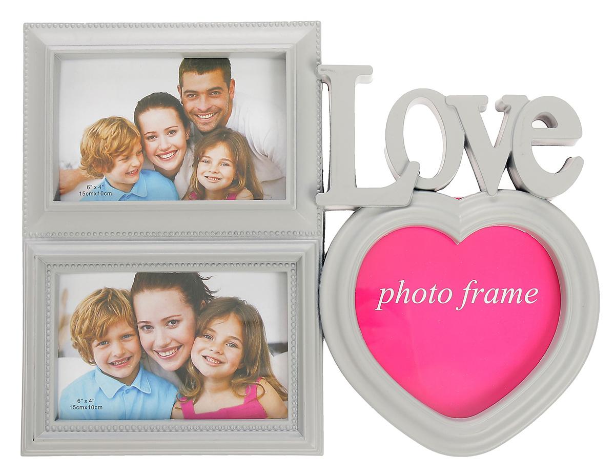Фоторамка Моя любовь, на 3 фото, 10 х 15, 12 х 12 см, цвет: серый. 2751005 фоторамки русские подарки фоторамка