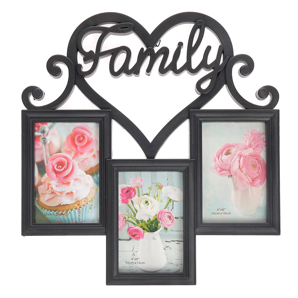Фоторамка Сердце семьи, на 3 фото, 10 х 15 см, цвет: черный. 2789257 фоторамки русские подарки фоторамка