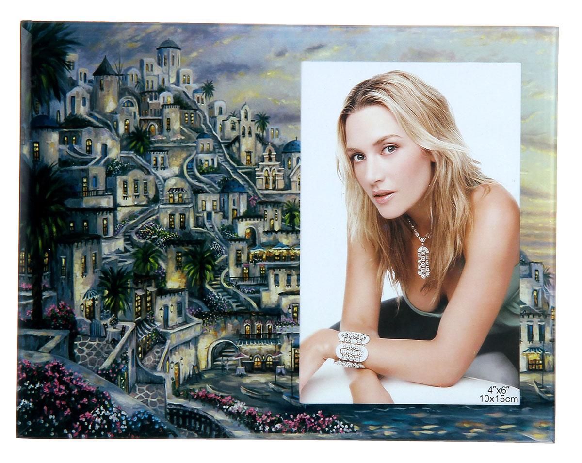 Фоторамка Цветущий городок, стекло, 10 х 15 см, цвет: серый. 479624479624