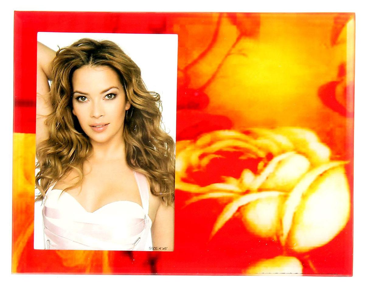 """Фоторамка """"Кремовая роза"""" сохранит самые прекрасные моменты вашей жизни.Характеристики: Материал: стеклоРазмер: 10 х 15 см."""