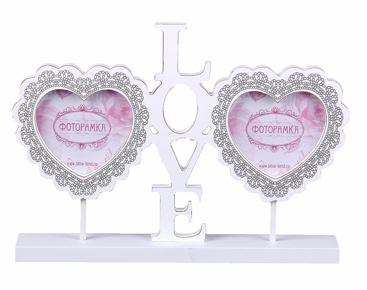 Фоторамка Светлые моменты Love, на подставке, на 2 фото. 855811 фоторамка букет роз на 2 фотографии