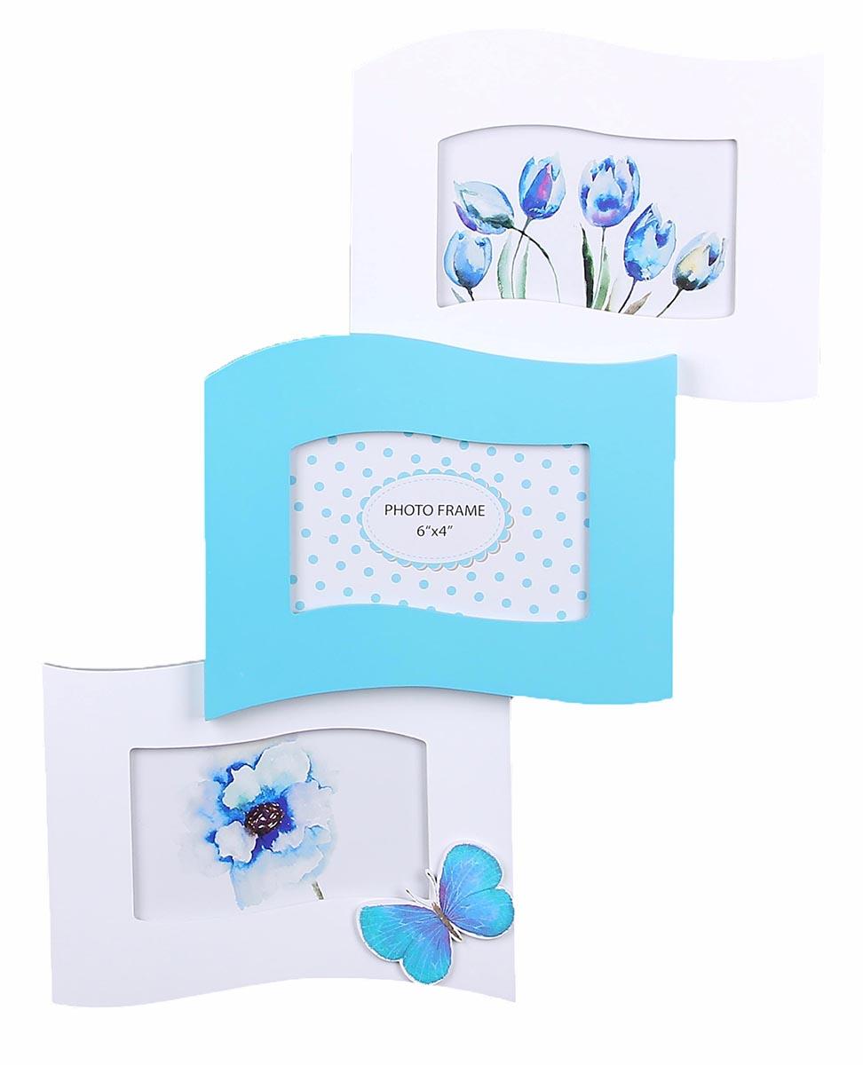 Фоторамка Бело-голубая фантазия, на 3 фото, цвет: белый, голубой. 856503 фоторамка бело голубая фантазия на 3 фото цвет белый голубой 856503