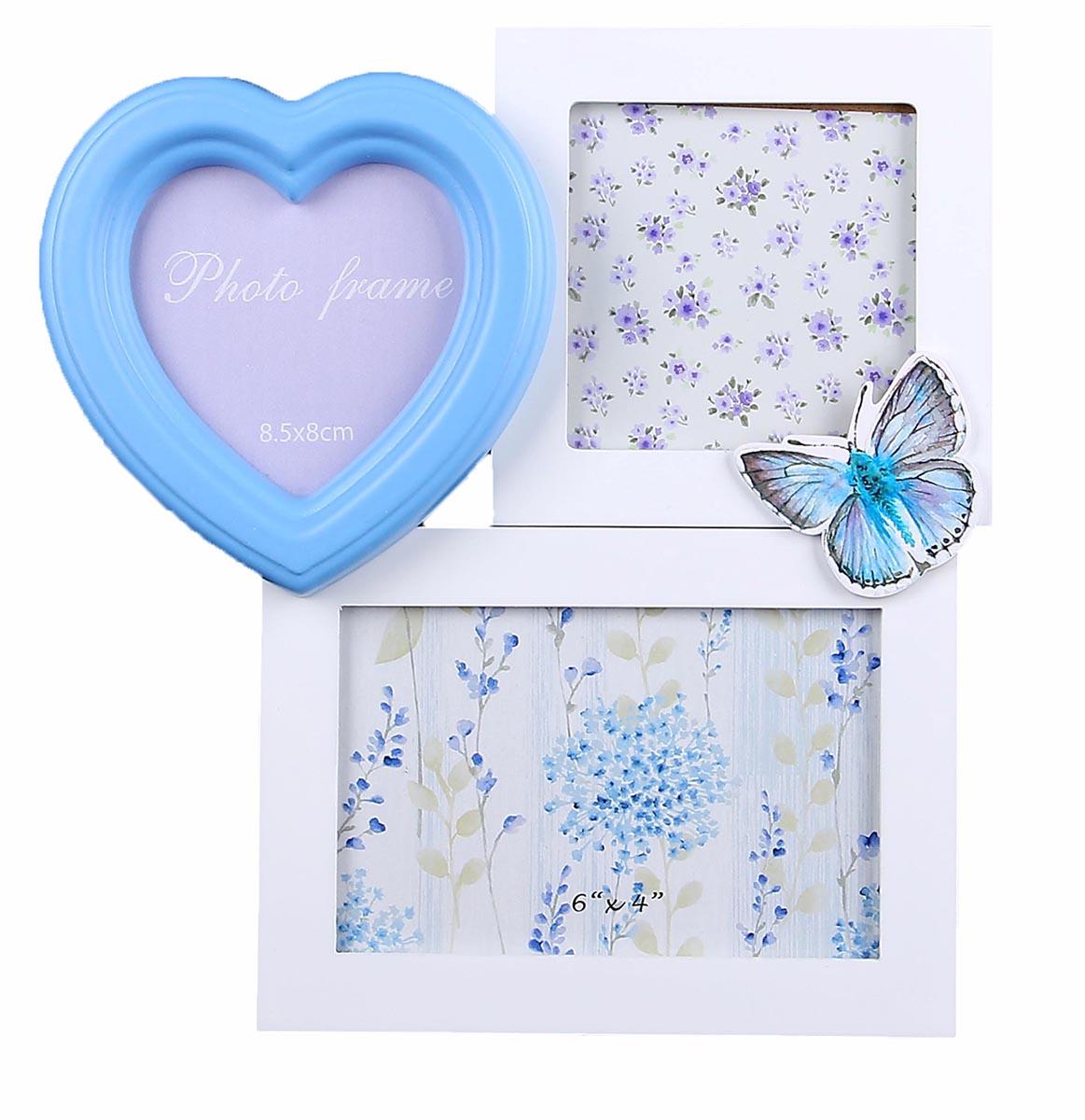 Фоторамка Бело-голубая с бабочкой, на 3 фото, цвет: белый, голубой. 856505 фоторамка бело голубая фантазия на 3 фото цвет белый голубой 856503