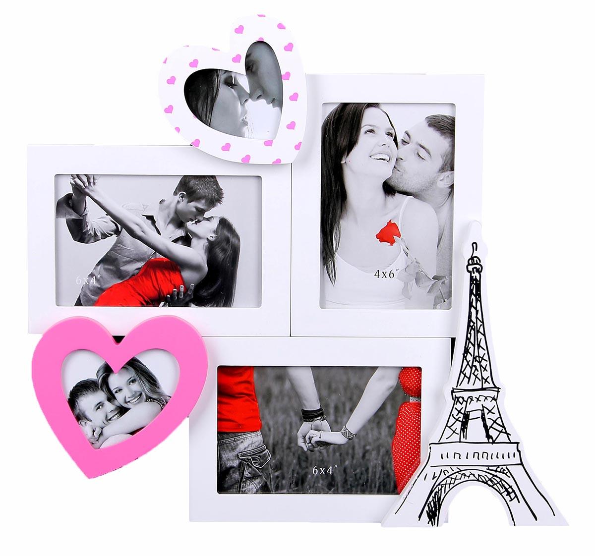 Фоторамка Мой Париж, на 5 фото, цвет: белый. 817817Французский стиль поистине неповторим: в нем причудливо сочетаются подлинный шик и нарочитая простота. Бывали ли Вы в самом сердце Франции – блистательном Париже – или только собираетесь его посетить – он очаровывает и на расстоянии и невольно заставляет мечтать о свежеиспеченных круассанах, звуках уличного аккордеона и корабликах, плывущих по Сене. Стильная Фоторамка на 5 фото Мой Париж 8х8; 8х10; 10х15 см, декорированная французской тематикой Франции, позволит привнести в интерьер парижский шик и неповторимый стиль. Преподнесите этот изящный аксессуар Вашей второй половинке на День всех влюбленных, пусть это будет поводом для романтичной поездки.