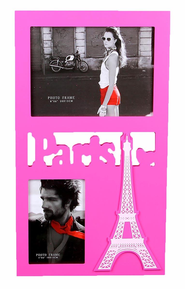 Фоторамка Франция, на 2 фото, цвет: розовый. 821821Французский стиль поистине неповторим: в нем причудливо сочетаются подлинный шик и нарочитая простота. Бывали ли Вы в самом сердце Франции – блистательном Париже – или только собираетесь его посетить – он очаровывает и на расстоянии и невольно заставляет мечтать о свежеиспеченных круассанах, звуках уличного аккордеона и корабликах, плывущих по Сене. Стильная Фоторамка на 2 фото Франция розовая 10х15; 20х15 см, декорированная французской тематикой Франции, позволит привнести в интерьер парижский шик и неповторимый стиль. Преподнесите этот изящный аксессуар Вашей второй половинке на День всех влюбленных, пусть это будет поводом для романтичной поездки.