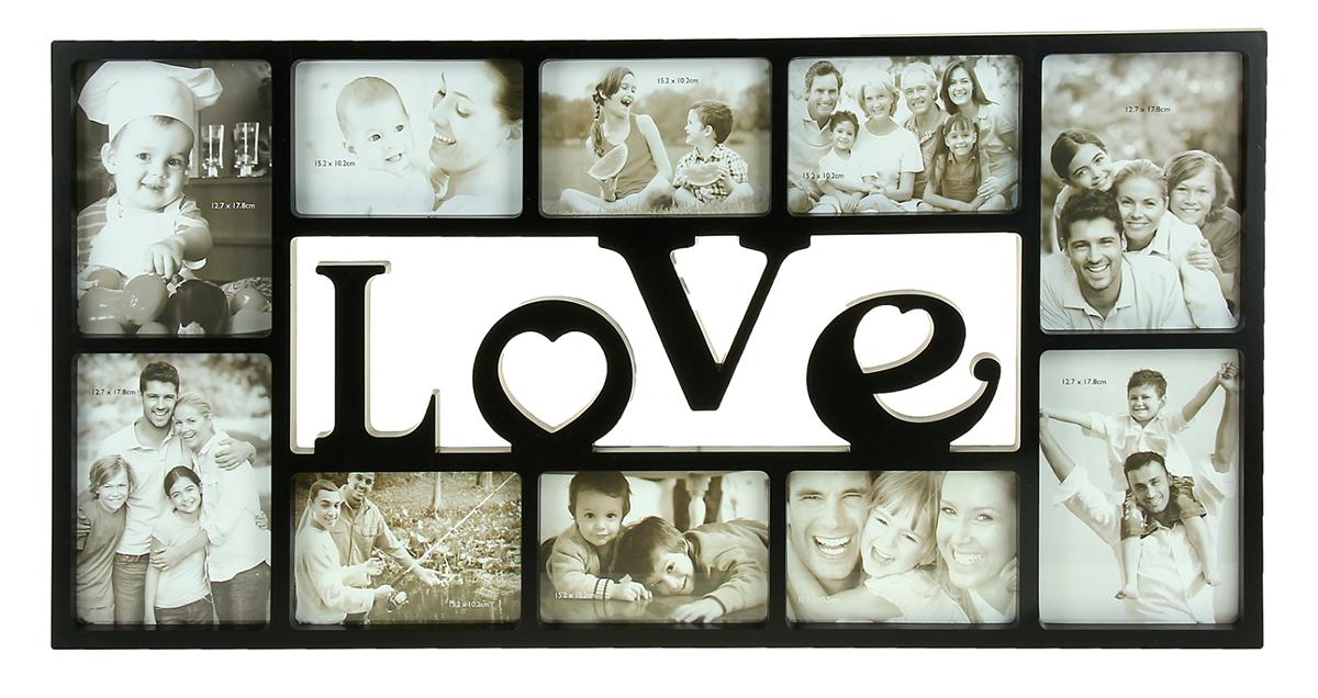 Фоторамка Love, на 10 фото, 10 х 15, 13 х 18 см, цвет: черный. 871857871857Фоторамка на 10 фото LOVE, черная, 10х15 см, 13х18 см - оригинальный предмет интерьера, который компактно уместит самые Важные фотографии на одном полотне. Яркий дизайн и неповторимый стиль будут озарять весь интерьер. Такая фоторамка станет актуальным подарком на 14 февраля, годовщину, свадьбу или даже День семьи, любви и верности. Ведь, поместив фотографии о нескольких памятных днях, соединенных воедино, а затем, просматривая их одну за другой, Вы вспомните все моменты, происходящие в эти романтичные денечки. На лице засияет улыбка, нахлынут теплые чувства...