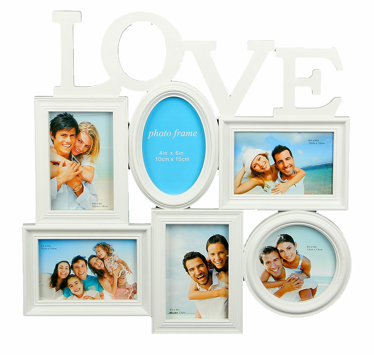 """Фоторамка """"Любовь"""" сохранит самые прекрасные моменты вашей жизни.Характеристики: Цвет: белыйКоличество фотографий: 6."""