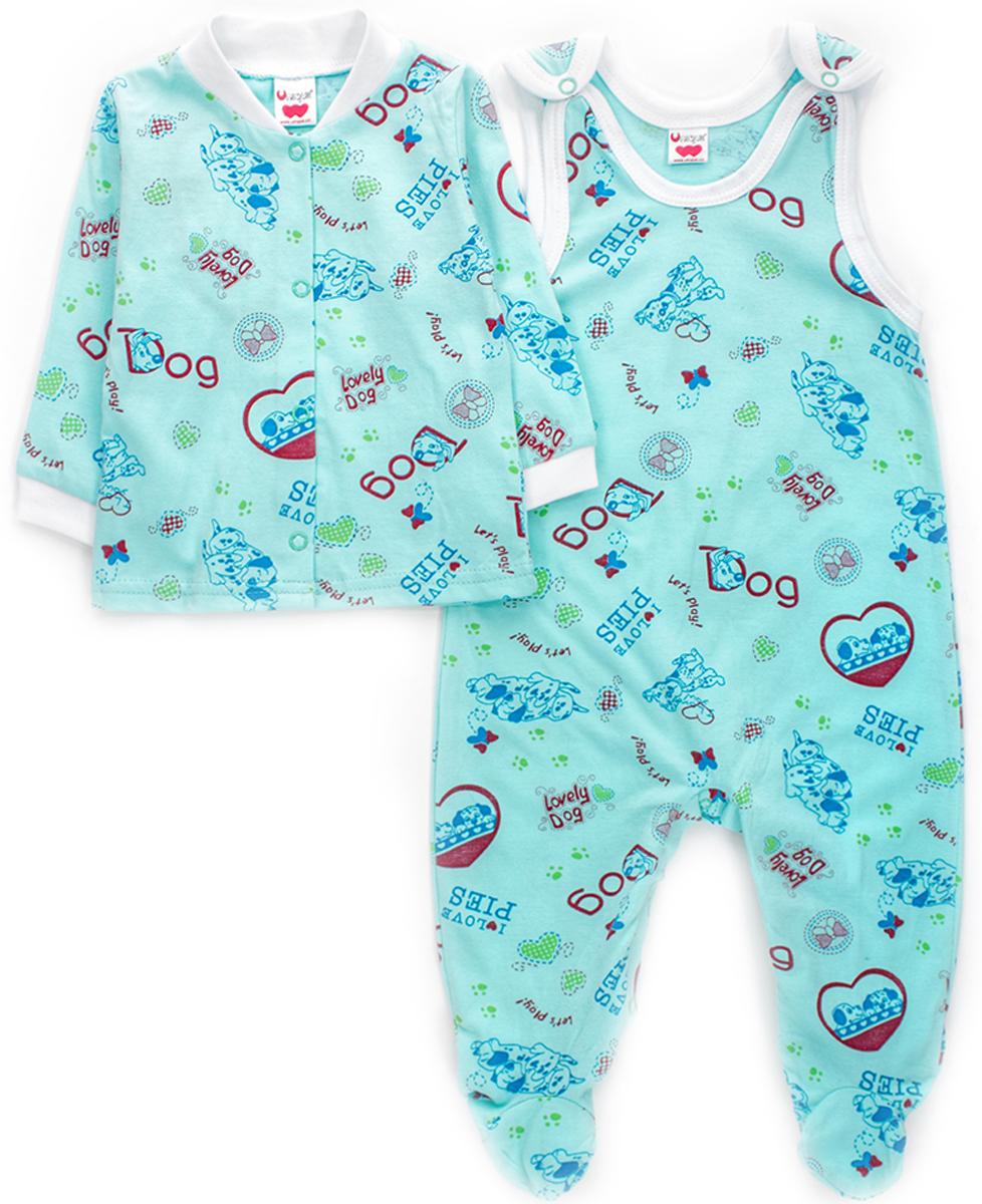 Комплект детский Unique: ползунки, распашонка, цвет: бирюзовый. U015128. Размер 74