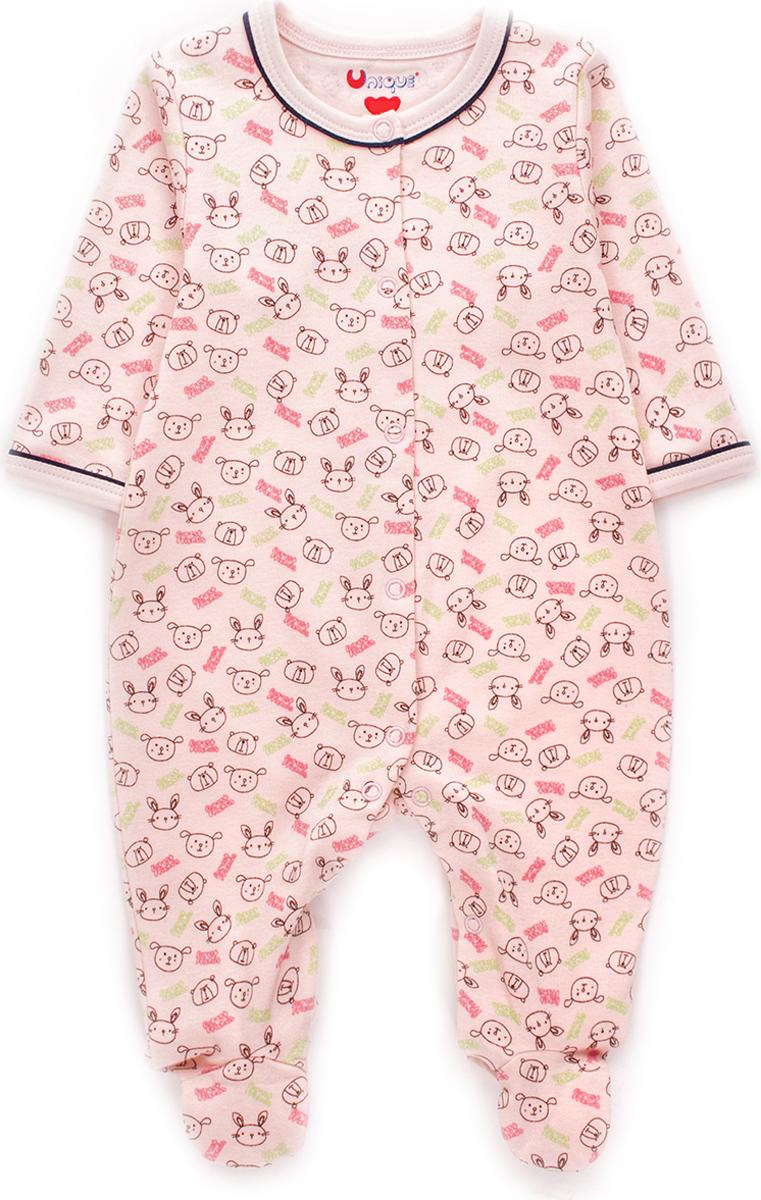 Комбинезон домашний для девочки Unique, цвет: розовый. U116005. Размер 62U116005Детский комбинезон Unique соответствует особенностям жизни младенца в ранний период, не стесняя и не ограничивая его в движениях. Изделие выполнено из мягкого хлопка. Комбинезон с круглым вырезом горловины, длинными рукавами и закрытыми ножками имеет застежки-кнопки от горловины до щиколоток. Модель оформлена принтовым рисунком.
