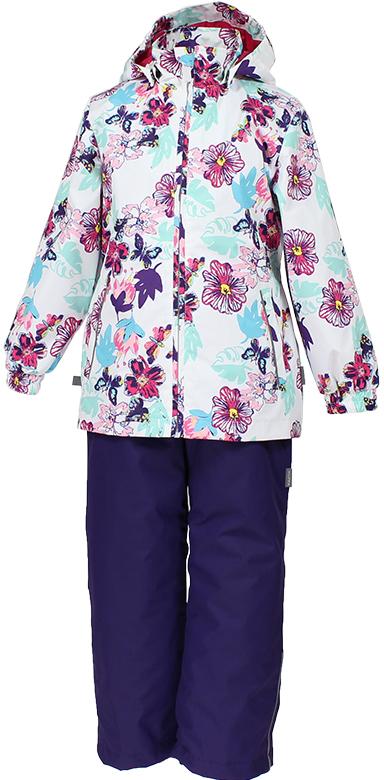 Комплект для девочки Huppa Yonne: куртка, полукомбинезон, цвет: белый, темно-лиловый. 41260004-81120. Размер 122 комплект одежды для девочки huppa yonne 1 куртка брюки цвет белый салатовый темно лиловый 41260104 81320 размер 140