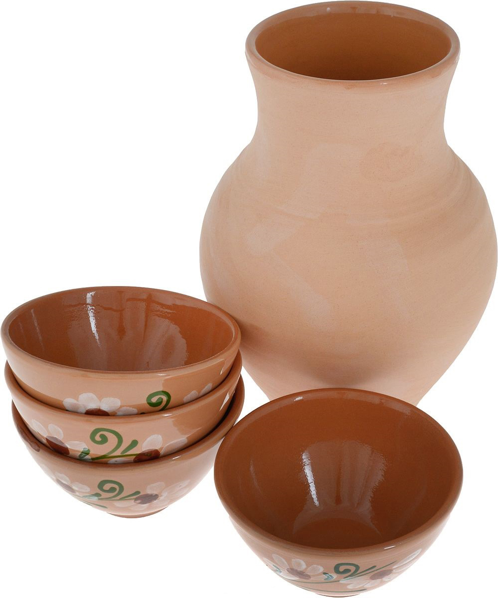 Набор Борисовская керамика, 5 предметовОБЧ14458441Набор Борисовская керамика состоит из крынки и четырех пиал. Изделия выполнены извысококачественной керамики. Природные свойства этого материала позволяют долгосохранять температуру напитка, даже если вы пьете что-то холодное. Внешние стенки пиалоформлены оригинальным рисунком. Такой набор эффектно украсит любой кухонныйинтерьер и станет хорошим подарком для ваших близких.