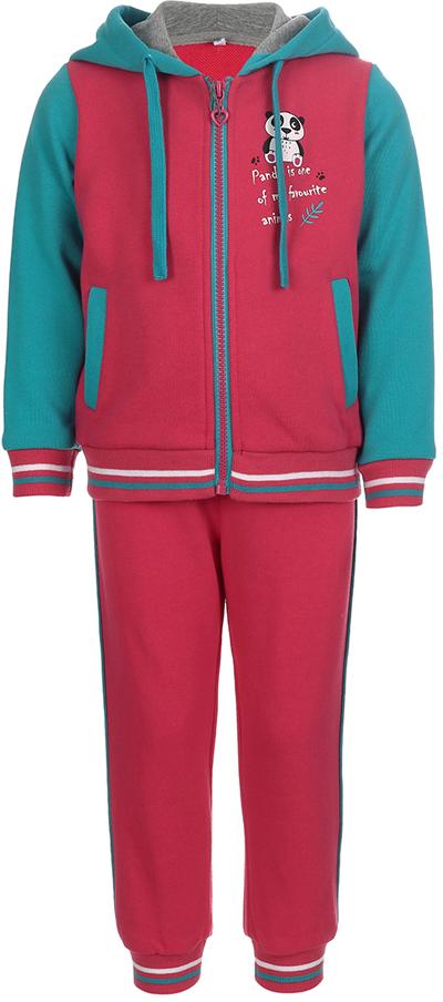 Спортивный костюм для девочки Oldos Элиз, цвет: малиновый, бирюзовый. 5O8SU00. Размер 92, 2 года спортивный костюм для девочки oldos сильвия цвет фиолетовый темно серый 5o8su04 размер 158 12 лет