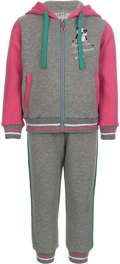 Спортивный костюм для девочки Oldos Элиз, цвет: серый, розовый. 5O8SU00. Размер 86, 1,5 года5O8SU00Удобный и яркий спортивный костюм для девочки. Футер плотностью 320 г., 60% хлопок, 40% полиэстер. Крой толстовки классический и имеет все необходимое для комфортной носки: капюшон со шнурком-утяжкой, карманы на молнии, манжеты и низ из трикотажного полотна. В брюках: пояс из трикотажного полотна с внутренней резинкой, дополнительная утяжка пояса шнурком, трикотажные манжеты по низу брючин. Костюм подходит как для повседневной носки, так и для занятия спортом.