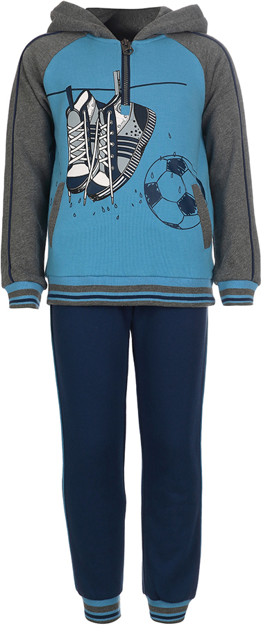 Спортивный костюм для мальчика Oldos Нил, цвет: голубой, темно-синий. 5O8SU02. Размер 110, 5 лет5O8SU02Спортивный костюм для мальчика. Футер плотностью 320 г., 60% хлопок, 40% полиэстер. Крой толстовки классический и имеет все необходимое для комфортной носки: капюшон, карманы, манжеты и низ из трикотажного полотна. Толстовка застегивается на молнию до середины груди. В брюках: пояс из трикотажного полотна с внутренней резинкой, дополнительная утяжка пояса шнурком, трикотажные манжеты по низу брючин. Мягкая ткань создает ощущение комфорта и не стесняет движений. Костюм подходит как для повседневной носки, так и для занятия спортом.