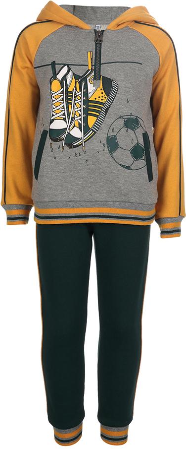 Спортивный костюм для мальчика Oldos Нил, цвет: золотой, зеленый. 5O8SU02. Размер 110, 5 лет5O8SU02Спортивный костюм для мальчика. Футер плотностью 320 г., 60% хлопок, 40% полиэстер. Крой толстовки классический и имеет все необходимое для комфортной носки: капюшон, карманы, манжеты и низ из трикотажного полотна. Толстовка застегивается на молнию до середины груди. В брюках: пояс из трикотажного полотна с внутренней резинкой, дополнительная утяжка пояса шнурком, трикотажные манжеты по низу брючин. Мягкая ткань создает ощущение комфорта и не стесняет движений. Костюм подходит как для повседневной носки, так и для занятия спортом.