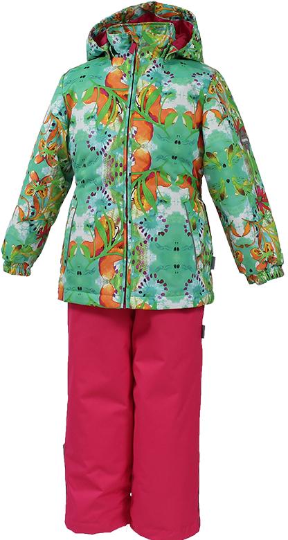 Комплект для девочки Huppa Yonne: куртка, полукомбинезон, цвет: светло-зеленый, фуксия. 41260004-81227. Размер 11641260004-81227Комплект верхней одежды для девочки Huppa состоит из куртки и полукомбинезона. Комплект выполнен из водонепроницаемой и ветрозащитной ткани. Куртка с капюшоном и воротником-стойкой застегивается на пластиковую молнию. Низ рукавов присборен на резинки, препятствующие проникновению холодного воздуха. Спереди расположены два прорезных кармана. Оформлено изделие ярким принтом. Полукомбинезоноснащен эластичными регулируемыми лямками. Застегивается спереди на пластиковую молнию. На талии предусмотрена широкая резинка. Ширина штанин снизу регулируется эластичными резинками.Комплект снабжен светоотражающими элементами, которые не оставят вашего ребенка незамеченным в темное время суток.