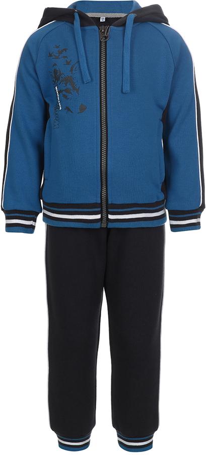 Спортивный костюм для мальчика Oldos Ланс, цвет: синий, черный. 5O8SU03. Размер 116, 6 лет5O8SU03Спортивный костюм для мальчика. Футер плотностью 320 г., 60% хлопок, 40% полиэстер. Крой толстовки классический и имеет все необходимое для комфортной носки: капюшон со шнурком-утяжкой, карманы на молнии, манжеты и низ из трикотажного полотна. В брюках: пояс из трикотажного полотна с внутренней резинкой, дополнительная утяжка пояса шнурком, трикотажные манжеты по низу брючин. Мягкая ткань создает ощущение комфорта и не стесняет движений. Костюм подходит как для повседневной носки, так и для занятия спортом.