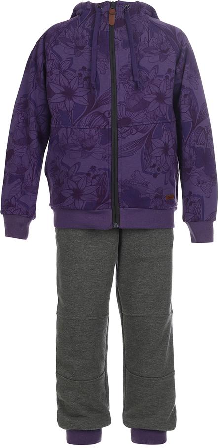Спортивный костюм для девочки Oldos Сильвия, цвет: фиолетовый, темно-серый. 5O8SU04. Размер 158, 12 лет брюки для девочки btc цвет черный 12 017900 размер 40 158