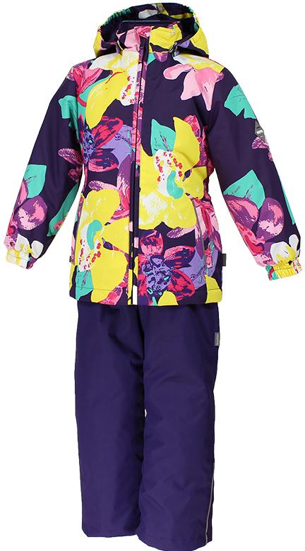 Комплект для девочки Huppa Yonne: куртка, полукомбинезон, цвет: темно-лиловый, желтый. 41260004-81373. Размер 122 комплект одежды для девочки huppa yonne 1 куртка брюки цвет белый салатовый темно лиловый 41260104 81320 размер 140