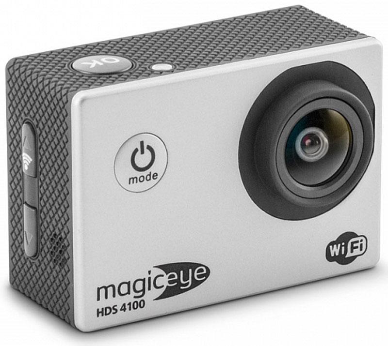 Gmini MagicEye HDS4100, Silver экшн-камера534239Gmini MagicEye HDS4100 - портативная экшн-камера с возможностью записи в формате FullHD 1080p, дисплеем, управлением съемкой по WiFi и самым полным комплектом поставки.Разрешение видео-файла FullHD 1080p. Видео-файлы могут быть просмотрены практически любым видеоплеером. Имеется режим HDR для лучшей проработки изображения в тенях.Широкоугольный объектив с углом обзора 170 градусов. Позволит записать в память практически всё, что видит пользователь камеры во время съемки. Удаленное управление по WiFi съемкой с данной камеры, с помощью смартфона или планшетного компьютера на операционной системе iOS или Android.LCD дисплей 2 для просмотра записанных фрагментов и настроек. Избавит от необходимости иметь дополнительное устройство для просмотра видео. Поможет при настройке положения вашей экшн-камеры.Автоматическое включение/выключение и старт записи при подаче/отключении питания. Позволяет использовать экшн-камеру в качестве видеорегистратора в автомобиле.Самый полный комплект поставки, включающий в себя бокс для подводной съемки, автомобильное крепление и автомобильный адаптер питания, крепления на руль, шлем, пояс и множество самых различных переходников.