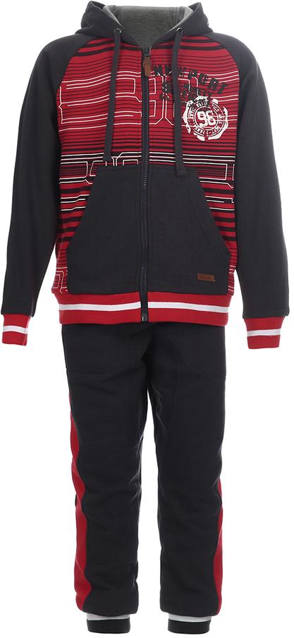Спортивный костюм для мальчика Oldos Донат, цвет: красный, темно-серый. 5O8SU08. Размер 140, 10 лет