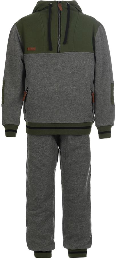 Спортивный костюм для мальчика Oldos Коул, цвет: темно-серый, зеленый. 5O8SU09. Размер 128, 8 лет5O8SU09Спортивный костюм для мальчика. Футер плотностью 360 г., 60% хлопок, 40% полиэстер. Крой толстовки классический и имеет все необходимое для комфортной носки: капюшон, карманы на молнии, манжеты и низ из трикотажного полотна. Толстовка застегивается на молнию до середины груди. В брюках: пояс из трикотажного полотна с внутренней резинкой, дополнительная утяжка пояса шнурком, трикотажные манжеты по низу брючин. Костюм подходит как для повседневной носки, так и для занятия спортом.