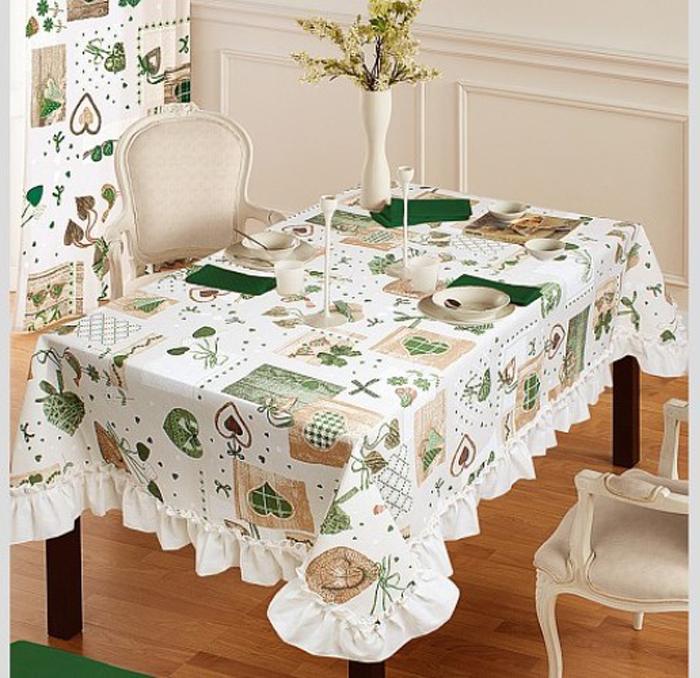 Скатерть Nadzejka Яна, прямоугольная, цвет: белый, зеленый, 120 x 150 см23541Забавный принт из сердечек в сочетании с оборкой, изготовленной из однотонной ткани с фигурным краем, придает этой скатерти особую нежность и теплоту. Ваша кухня сразу наполнится ароматом горячего чая и свежей выпечки.