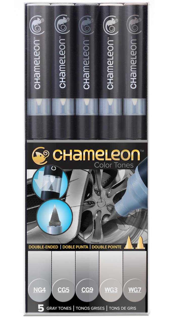 Chameleon Набор маркеров Gray Tones 5 штCT0509Спиртовые маркеры Chameleon Color Tones идеально подходят для скетчинга, манги и графики. Каждый маркер позволяет получить градиент от самого светлого до самого насыщенного оттенка выбранного цвета. Просто совместите перо и смешивающую камеру, измените оттенок цвета пера и создайте бесшовные переходы. Благодаря Chameleon палитра маркеров становится гораздо шире, чем цвет, указанный на колпачке. Создавайте потрясающие эффекты, такие как 3D, плавные и бесшовные смешивания и градиенты, выделения и затемнения. Маркеры Chameleon имеют два японских пера: эластичное перо-кисть и перо пулевидной формы. Маркеры не токсичны и практически не имеют запаха. Дополнительные характеристики: - спиртовые чернила профессионального качества; - сменные перья; - два японских пера: эластичное перо-кисть и пулевидное перо; - чернила устойчивы на большинстве поверхностей; - совместимы с другими спиртовыми чернилами; - нетоксичны и практически без запаха; - идеально подходят для скетчинга, манги и графики; - набор маркеров 5 шт, серые тона;