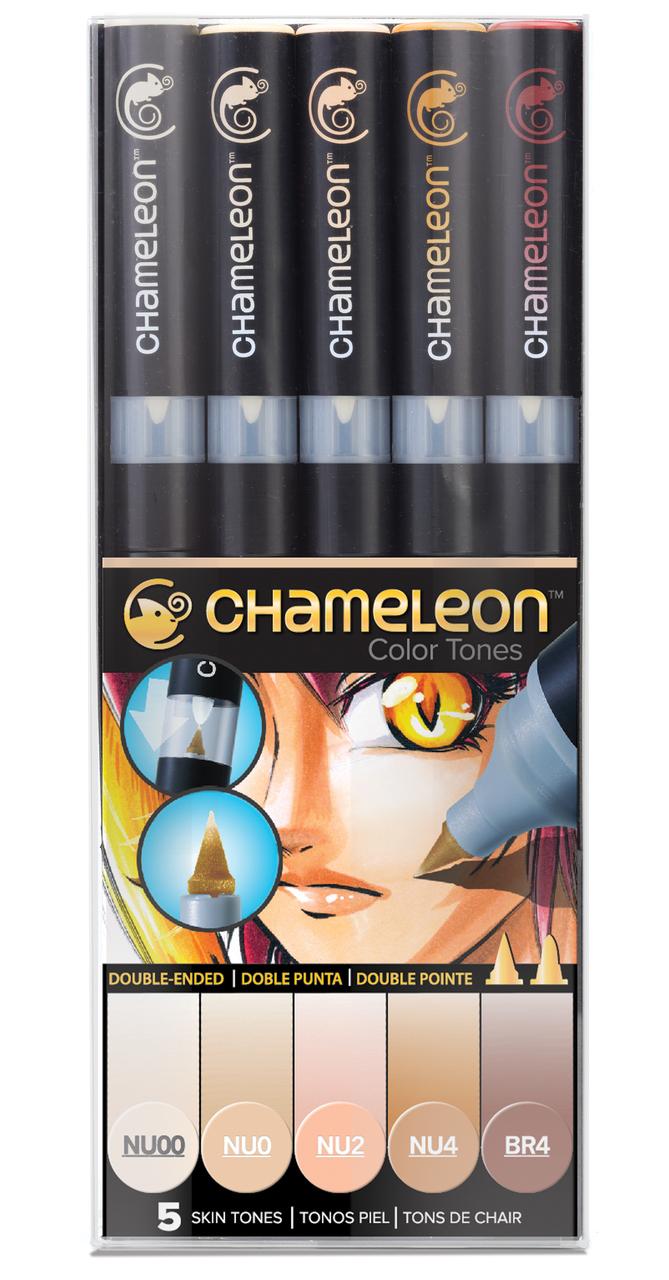 Chameleon Набор маркеров Skin Tones 5 штCT0510Спиртовые маркеры Chameleon Color Tones идеально подходят для скетчинга, манги и графики. Каждый маркер позволяет получить градиент от самого светлого до самого насыщенного оттенка выбранного цвета. Просто совместите перо и смешивающую камеру, измените оттенок цвета пера и создайте бесшовные переходы. Благодаря Chameleon палитра маркеров становится гораздо шире, чем цвет, указанный на колпачке. Создавайте потрясающие эффекты, такие как 3D, плавные и бесшовные смешивания и градиенты, выделения и затемнения. Маркеры Chameleon имеют два японских пера: эластичное перо-кисть и перо пулевидной формы. Маркеры не токсичны и практически не имеют запаха. Дополнительные характеристики: - спиртовые чернила профессионального качества; - сменные перья; - два японских пера: эластичное перо-кисть и пулевидное перо; - чернила устойчивы на большинстве поверхностей; - совместимы с другими спиртовыми чернилами; - нетоксичны и практически без запаха; - идеально подходят для скетчинга, манги и графики; - набор маркеров 5 шт, телесные тона;