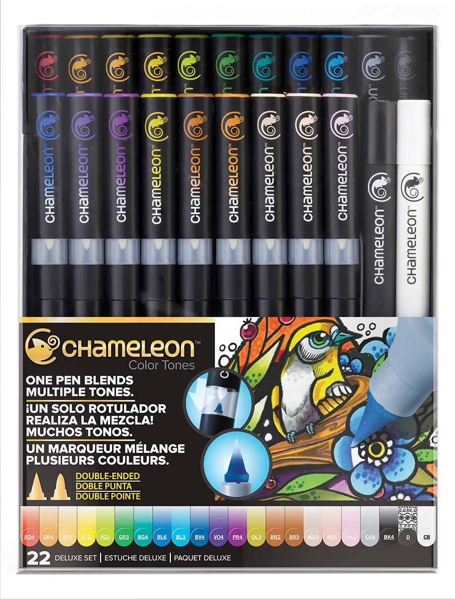 Chameleon Набор маркеров 22 штCT2201Спиртовые маркеры Chameleon Color Tones идеально подходят для скетчинга, манги и графики. Каждый маркер позволяет получить градиент от самого светлого до самого насыщенного оттенка выбранного цвета. Просто совместите перо и смешивающую камеру, измените оттенок цвета пера и создайте бесшовные переходы. Благодаря Chameleon палитра маркеров становится гораздо шире, чем цвет, указанный на колпачке. Создавайте потрясающие эффекты, такие как 3D, плавные и бесшовные смешивания и градиенты, выделения и затемнения. Маркеры Chameleon имеют два японских пера: эластичное перо-кисть и перо пулевидной формы. Маркеры не токсичны и практически не имеют запаха. Дополнительные характеристики: - спиртовые чернила профессионального качества; - сменные перья; - два японских пера: эластичное перо-кисть и пулевидное перо; - чернила устойчивы на большинстве поверхностей; - совместимы с другими спиртовыми чернилами; - нетоксичны и практически без запаха; - идеально подходят для скетчинга, манги и графики; - набор маркеров 22 шт. В набор включен маркер-линер «DETAIL PEN» и блендер;