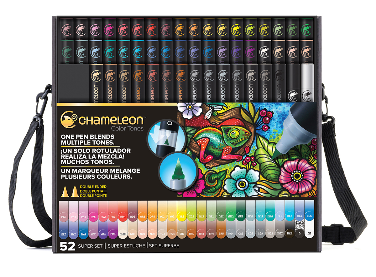 Chameleon Набор маркеров 52 штCT5201Спиртовые маркеры Chameleon Color Tones идеально подходят для скетчинга, манги и графики. Каждый маркер позволяет получить градиент от самого светлого до самого насыщенного оттенка выбранного цвета. Просто совместите перо и смешивающую камеру, измените оттенок цвета пера и создайте бесшовные переходы. Благодаря Chameleon палитра маркеров становится гораздо шире, чем цвет, указанный на колпачке. Создавайте потрясающие эффекты, такие как 3D, плавные и бесшовные смешивания и градиенты, выделения и затемнения. Маркеры Chameleon имеют два японских пера: эластичное перо-кисть и перо пулевидной формы. Маркеры не токсичны и практически не имеют запаха. Дополнительные характеристики: - спиртовые чернила профессионального качества; - сменные перья; - два японских пера: эластичное перо-кисть и пулевидное перо; - чернила устойчивы на большинстве поверхностей; - совместимы с другими спиртовыми чернилами; - нетоксичны и практически без запаха; - идеально подходят для скетчинга, манги и графики; - набор маркеров 52 шт., а также кейс с ремнем для переноски. В набор включен маркер-линер «DETAIL PEN» и блендер;