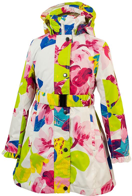 Куртка для девочки Huppa Leandra, цвет: белый, салатовый. 18030004-81320. Размер 14618030004-81320Демисезонная куртка Leandra с оборками. Мембранная ткань ветронепроницаема, но позволяет коже дышать. Пальто с утеплителем 40 г подходит для весны и осени, рекомендуемая температура +5 - +15°С. Отстегивающийся капюшон украшен небольшой оборкой. Застежка на молнию укреплена рядом кнопок. Талия подчеркнута поясом с пряжкой, пальто расклешено от талии. На уровне бедер в рельефных швах вшиты карманы на молниях. Внутренний карман тоже застегивается на молнию. Манжеты с оборками можно отвернуть для увеличения длины рукавов. Нижнюю часть спинки украшают несколько ярусов оборок. Линия низа плавно вырезана, спереди пальто чуть короче, чем сзади. Светоотражающие детали предназначены для безопасности ребенка.