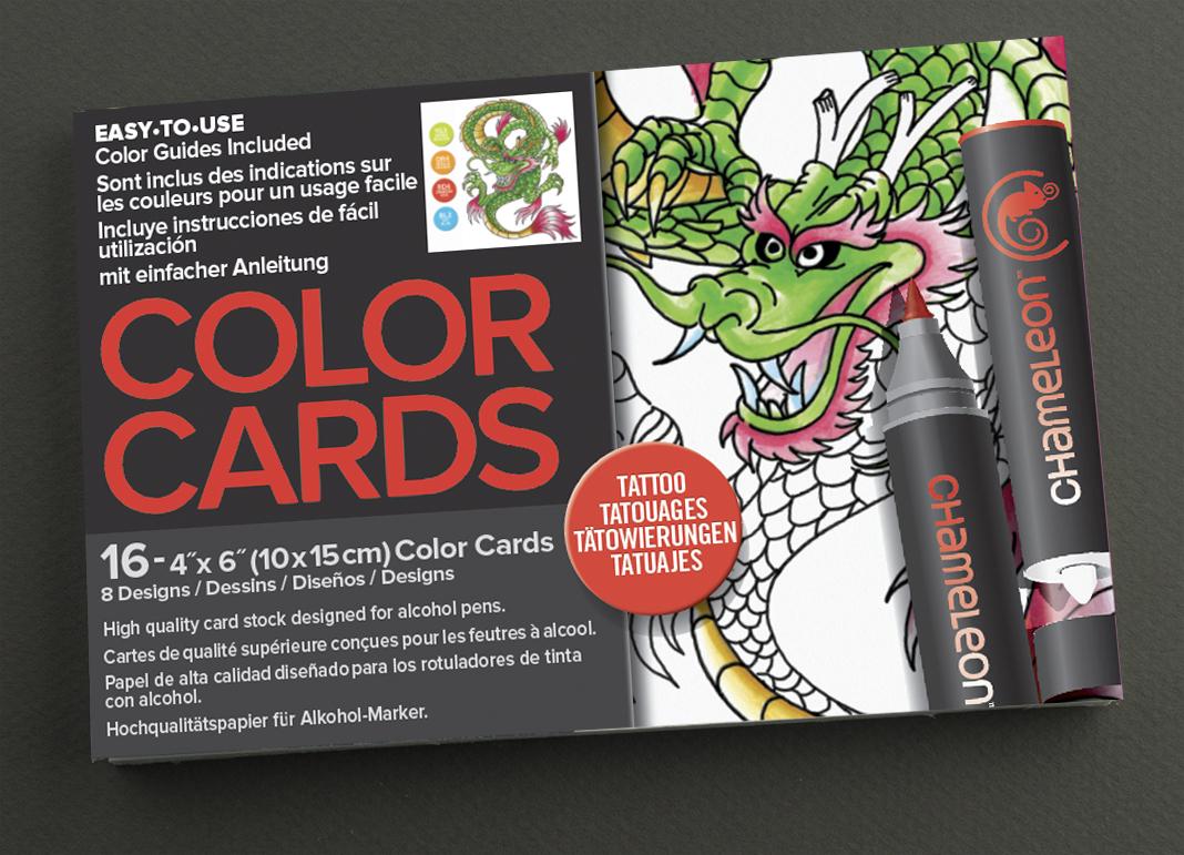 Chameleon Раскраска-склейка TattooCC0104Раскраски Chameleon – это не просто раскрашивание, а арт-терапия! Они напечатаны на плотной маркерной бумаге высокого качества. Бумагу можно сочетать с другими материалами (карандаши, акварель, гуашь). Раскраски Chameleon включают цветовые подсказки, с помощью которых возможно создавать градиенты, затемнения и различные текстуры. В каждом наборе 16 карточек-раскрасок. Идеальный классический формат – 10х15 см. 8 рисунков (по 2 копии каждого). Тема раскраски: татуировка.
