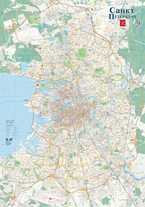 Санкт-Петербург. Настенная карта мытищи план города карта окрестностей