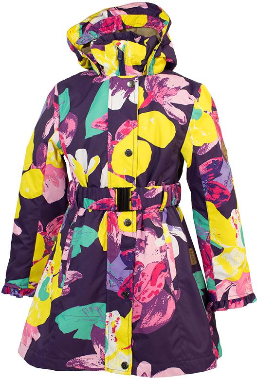 Куртка для девочки Huppa Leandra, цвет: темно-лиловый. 18030004-81373. Размер 14618030004-81373Демисезонная куртка Leandra с оборками. Мембранная ткань ветронепроницаема, но позволяет коже дышать. Пальто с утеплителем 40 г подходит для весны и осени, рекомендуемая температура +5 - +15°С. Отстегивающийся капюшон украшен небольшой оборкой. Застежка на молнию укреплена рядом кнопок. Талия подчеркнута поясом с пряжкой, пальто расклешено от талии. На уровне бедер в рельефных швах вшиты карманы на молниях. Внутренний карман тоже застегивается на молнию. Манжеты с оборками можно отвернуть для увеличения длины рукавов. Нижнюю часть спинки украшают несколько ярусов оборок. Линия низа плавно вырезана, спереди пальто чуть короче, чем сзади. Светоотражающие детали предназначены для безопасности ребенка.