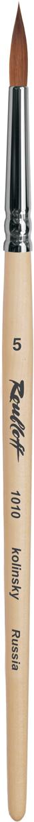 Roubloff Кисть 1010 колонок круглая № 6 короткая ручкаЖК1-06,00БКисть круглая из волоса колонка на короткой лакированной деревяной ручке с медной хромированной обоймой серебряного цвета.