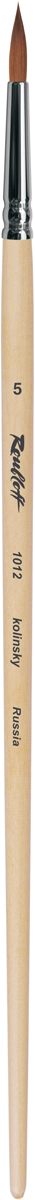 Roubloff Кисть 1012 колонок круглая № 7 длинная ручкаЖК1-07,02БКисть круглая из волоса колонка на длинной лакированной деревяной ручке с медной хромированной обоймой серебряного цвета.