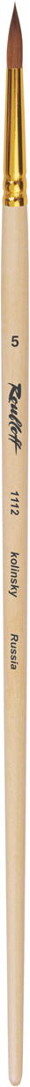 Roubloff Кисть 1112 колонок круглая № 2,5 длинная ручкаЖК1-02,52ЖКисть круглая с укороченной вставкой из волоса колонка на длинной лакированной деревяной ручке с алюминиевой обоймой золотого цвета.