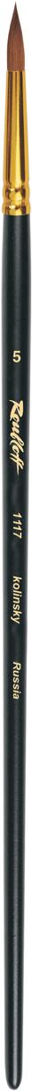 Roubloff Кисть 1117 колонок круглая № 4 длинная ручкаЖК1-04,07ЖКисть круглая с укороченной вставкой из волоса колонка на длинной черной матовой ручке с алюминиевой обоймой золотого цвета.