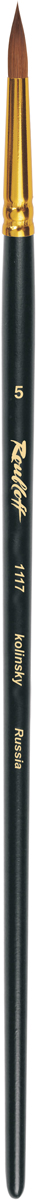 Roubloff Кисть 1117 колонок круглая № 12 длинная ручкаЖК1-12,07ЖКисть круглая с укороченной вставкой из волоса колонка на длинной черной матовой ручке с алюминиевой обоймой золотого цвета.