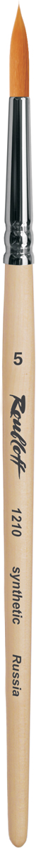 Roubloff Кисть 1210 синтетика круглая № 4 короткая ручкаЖС1-04,00БКисть круглая из волоса рыжей мягкой синтетики на короткой деревянной лакированной ручке с хромированной обоймой серебряного цвета.