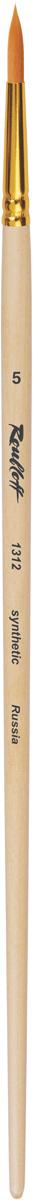 Roubloff Кисть 1312 синтетика круглая № 0 длинная ручкаЖС1-00,82ЖКисть круглая с укороченной вставкой из волоса рыжей жесткой синтетики на длинной деревянной лакированной ручке с алюминиевой обоймой золотого цвета.