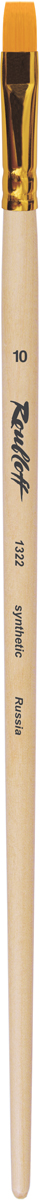 Roubloff Кисть 1322 синтетика плоская № 10 длинная ручкаЖС2-10,02ЖКисть плоская из волоса рыжей жесткой синтетики на длинной деревянной лакированной ручке с алюминиевой обоймой золотого цвета.