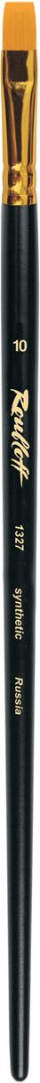 Roubloff Кисть 1327 синтетика плоская № 14 длинная ручкаЖС2-14,07ЖКисть плоская из волоса рыжей жесткой синтетики на длинной черной матовой ручке с алюминиевой обоймой золотого цвета.