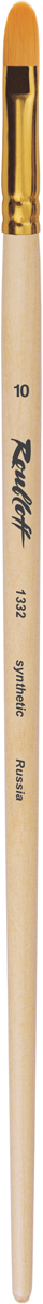 Roubloff Кисть 1332 синтетика овальная № 4 длинная ручкаЖС3-04,02ЖОвальная кисть из жесткого синтетического ворса с укороченной выставкой удобна в использовании за счет сбалансированной длины. Анодированная алюминиевая обойма надежно защищает ворсинки изделия, а лаковое покрытие предотвратит от скольжения и продлит жизнеспособность ручки. Такая форма кисти позволяет контролировать нанесение мазка по краю контура и менять толщину линий с помощью нажима и поворота руки.
