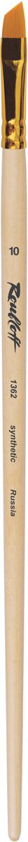 Roubloff Кисть 1362 синтетика скошенная № 14 длинная ручкаЖС6-14,02ЖКисть наклонная с уороченной вставкой из волоса рыжей жесткой синтетики на длинной деревянной лакированной ручке с алюминиевой обоймой золотого цвета. Используется для прорисовки мелких фигур и краеугольных форм.
