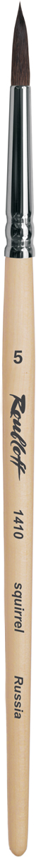 Roubloff Кисть 1410 белка круглая № 0 короткая ручкаЖБ1-00,80БКисть круглая из волоса белки на короткой лакированной деревянной ручке с хромированной обоймой серебряного цвета.
